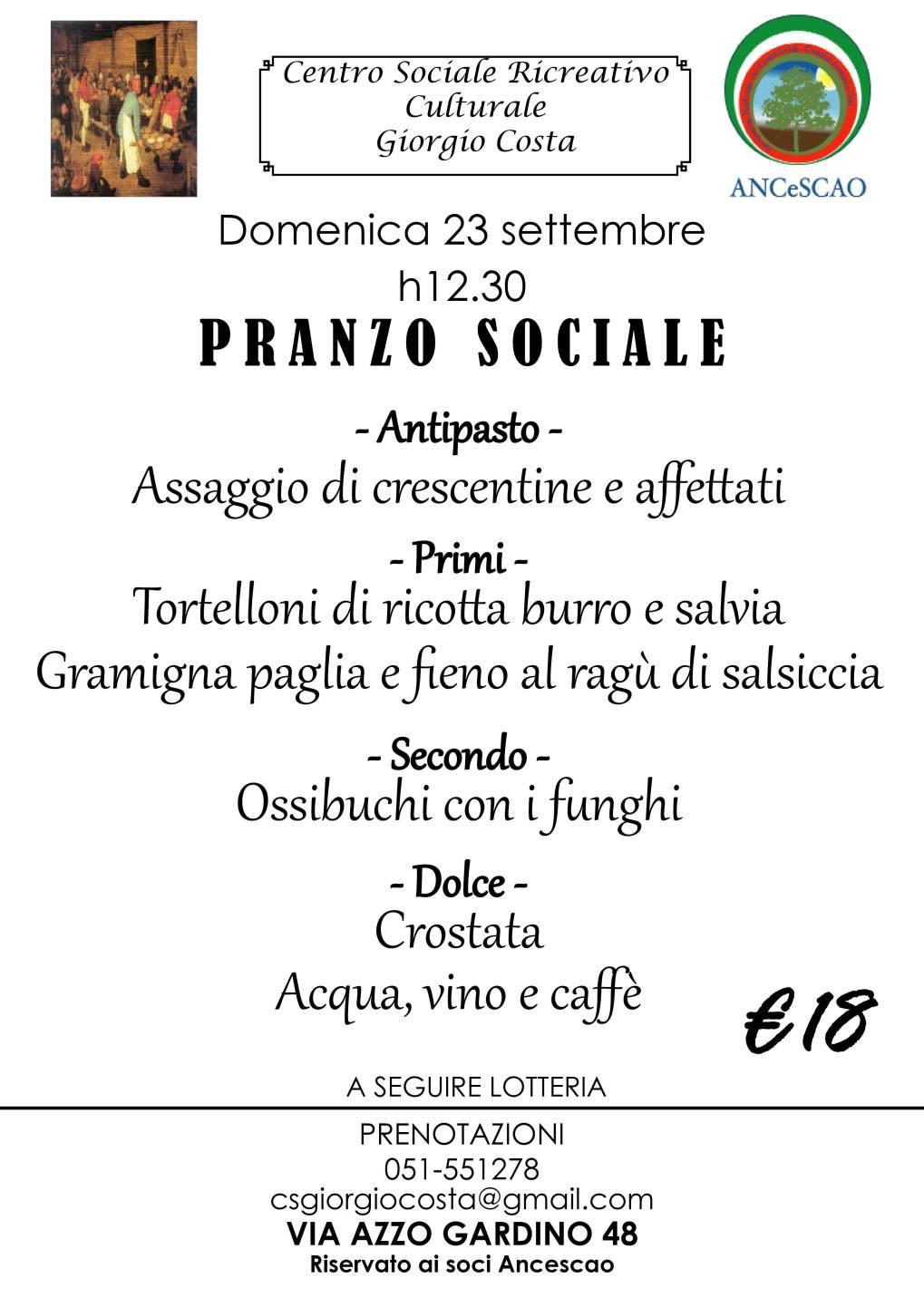 Pranzo sociale 23 settembre 2018